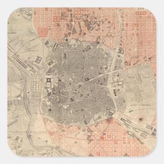 Mapa do vintage da espanha de Madrid (1861) Adesivo Quadrado