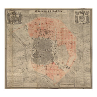 Mapa do vintage da espanha de Madrid (1861) Poster