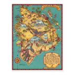 Mapa do vintage da ilha de Havaí Cartao Postal