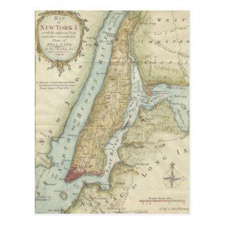 Mapa do vintage da Nova Iorque (1869) Cartão Postal