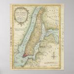Mapa do vintage da Nova Iorque (1869) Impressão