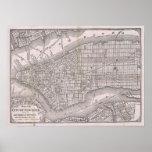 Mapa do vintage da Nova Iorque (1886) Pôsteres
