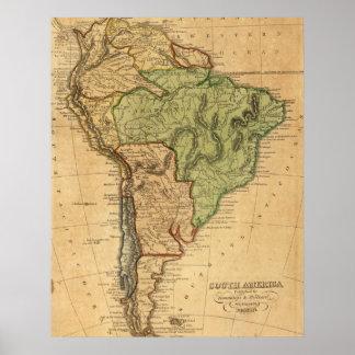 Mapa do vintage de Ámérica do Sul (1821) Poster