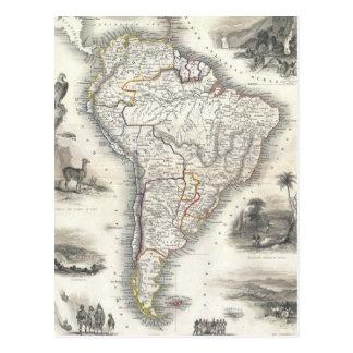 Mapa do vintage de Ámérica do Sul (1850) Cartão Postal