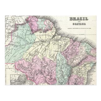 Mapa do vintage de Brasil (1855) Cartão Postal