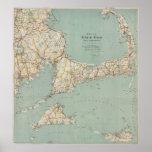 Mapa do vintage de Cape Cod (1917) Poster