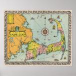 Mapa do vintage de Cape Cod Pôsteres
