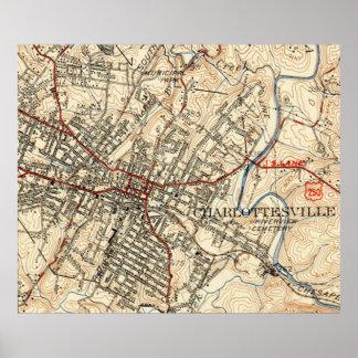 Mapa do vintage de Charlottesville Virgínia (1949) Pôster