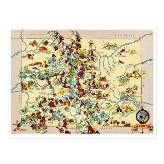 Mapa do vintage de Colorado Cartão Postal