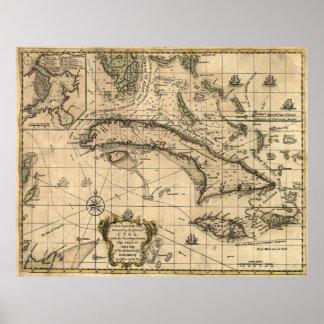 Mapa do vintage de Cuba (1762) Poster