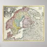 Mapa do vintage de Escandinávia (1730) Pôsteres