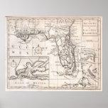 Mapa do vintage de Florida (1763) Poster
