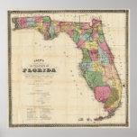 Mapa do vintage de Florida (1870) Pôster