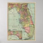 Mapa do vintage de Florida (1909) Pôster