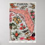 Mapa do vintage de Florida (1917) Poster