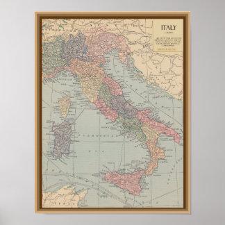 Mapa do vintage de Italia Posters