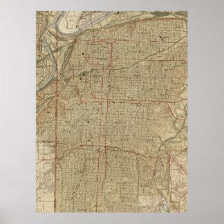 Mapa do vintage de Kansas City Missouri (1935) Pôster