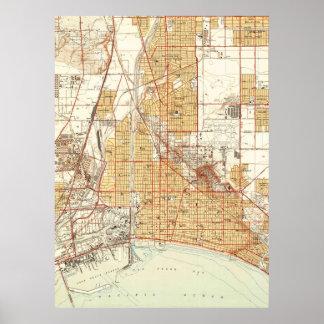 Mapa do vintage de Long Beach Califórnia (1949) 2 Poster