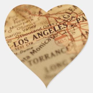Mapa do vintage de LOS ANGELES Adesivo De Coração