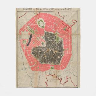 Mapa do vintage de Milão Italia (1884) Cobertor De Velo