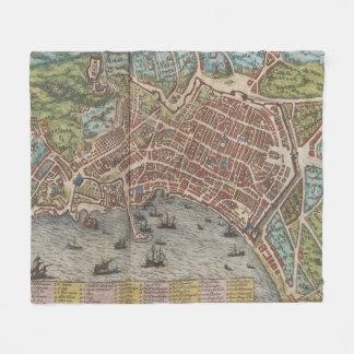Mapa do vintage de Nápoles Italia (1572) Cobertor De Velo