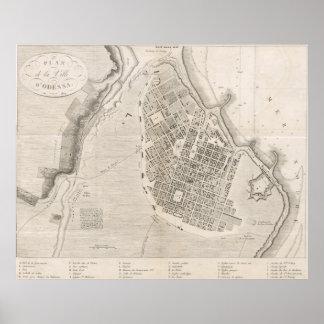 Mapa do vintage de Odessa Ucrânia (1827) Pôster