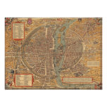 Mapa do vintage de Paris (1575) Posteres