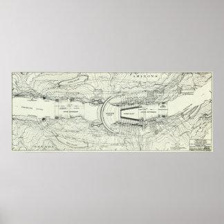 Mapa do vintage do barragem Hoover (1930) Poster