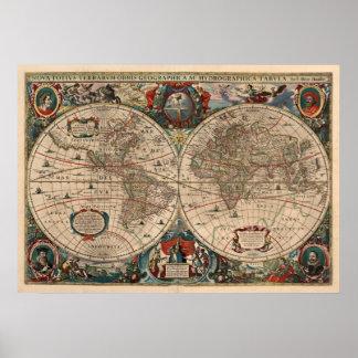 Mapa do vintage do mundo (1641) pôster