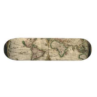 Mapa do vintage do mundo (1689) shape de skate 20,6cm