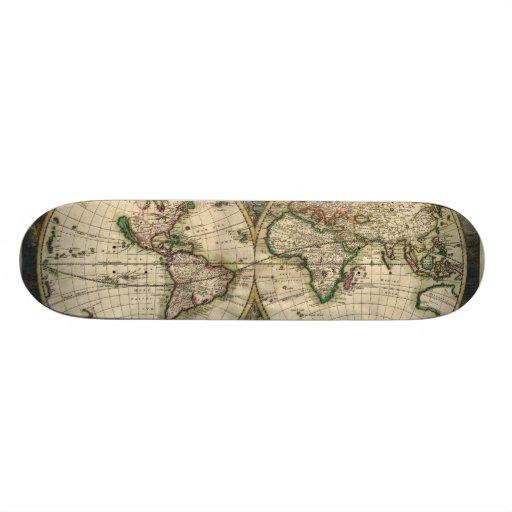 Mapa do vintage do mundo (1689) skate