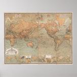 Mapa do vintage do mundo (1870) pôsteres