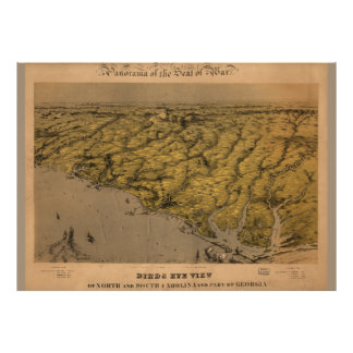 Mapa do vintage do poster 1861 de South Carolina Pôster