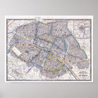 Mapa do vintage do poster de Paris Galignani