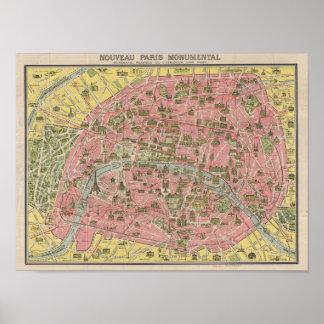 Mapa do vintage do poster de Paris Leconte