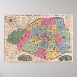Mapa do vintage do poster de Paris Vuillemin