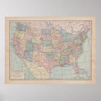 Mapa do vintage dos Estados Unidos Pôster