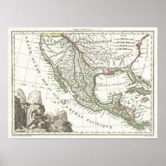 Mapa do vintage dos territórios de Texas e de Méxi Poster