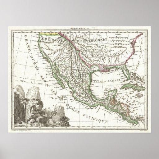 Mapa do vintage dos territórios de Texas e de Méxi Pôsteres