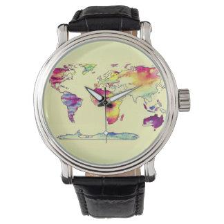 Mapa do Watercolour do relógio do mundo