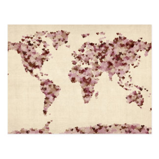 Mapa dos corações do amor do mapa do mundo cartão postal