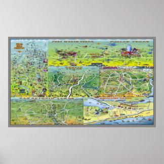 Mapa dos desenhos animados das cidades de Texas Pôster