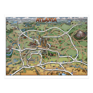 Mapa dos desenhos animados de Atlanta Geórgia Cartão Postal
