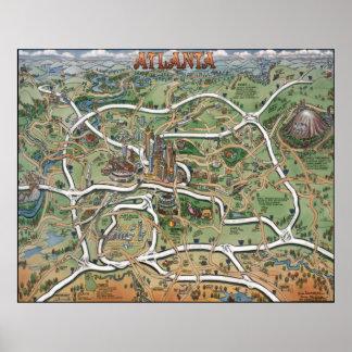 Mapa dos desenhos animados de Atlanta Geórgia Pôsteres