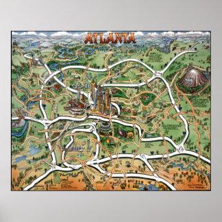 Mapa dos desenhos animados de Atlanta Geórgia Posteres