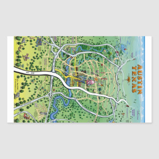 Mapa dos desenhos animados de Austin Texas Adesivo Retangular