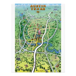 Mapa dos desenhos animados de Austin Texas Modelo De Papel De Carta