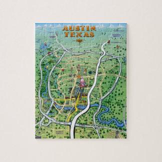 Mapa dos desenhos animados de Austin Texas Quebra-cabeça