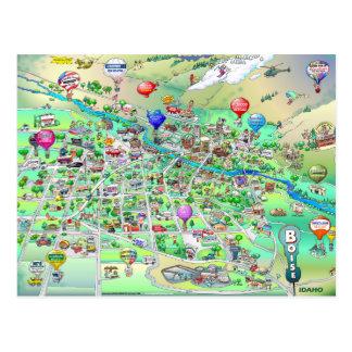 Mapa dos desenhos animados de Boise Idaho Cartão Postal