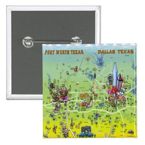 Mapa dos desenhos animados de Dallas Fort Worth Boton